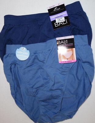 2 Bali Womens Nylon Hi Cut Brief Panty Soft Seamless No Ride Up 6/7 Blue NWT (Womens Nylon Briefs)