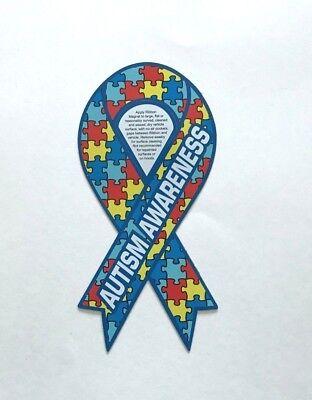 Autism Awareness Ribbon Puzzle Piece Car Magnet - NEW - FREE SHIPPING - Autism Awareness Car Magnets