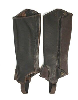 """NEW Tredstep Deluxe Leather Half Chap Chaps 14"""" Height /13"""" Calf - Mocha"""