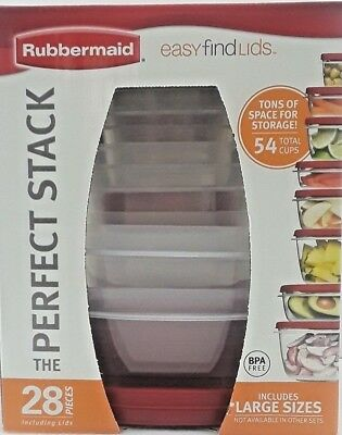 Rubbermaid Easy Find Lids Food Storage Containers Racer Red, 28-Piece Set 18...