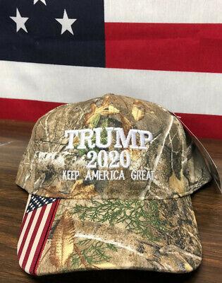 Trump 2020 American Flag Realtree  Hat Keep America Great MAGA USA Camo Cap