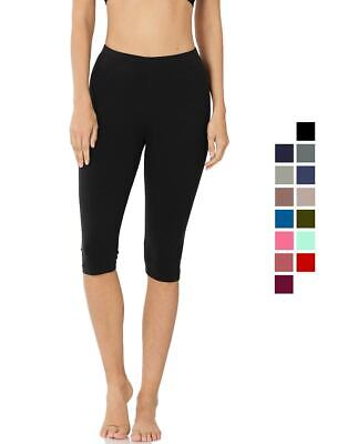 Premium Cotton Capri Length Leggings Yoga Pants Stretchy Basic Everyday Activewear