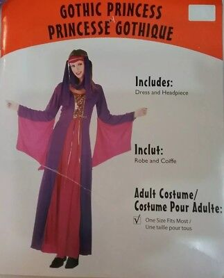 Medival Dresses (Gothic Princess Medival Dress & Headpiece Costume Adult Once Size Fits)