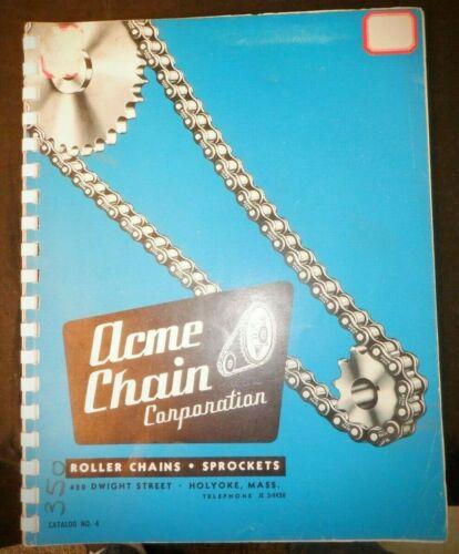 Acme Chain Corporation Catalog No. 4 Roller Chains Sprockets Illust circa 1950