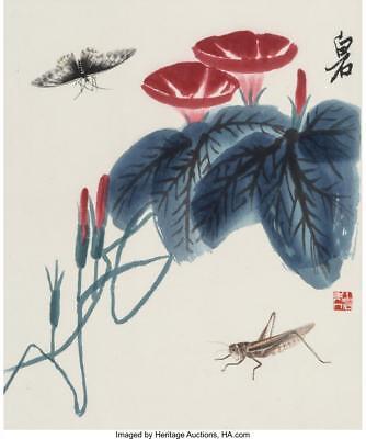 FOUR QI BAISHI (1864-1957) WATERCOLOR BOTANICAL PRINTS 11-1/4 INCHE... Lot 78283