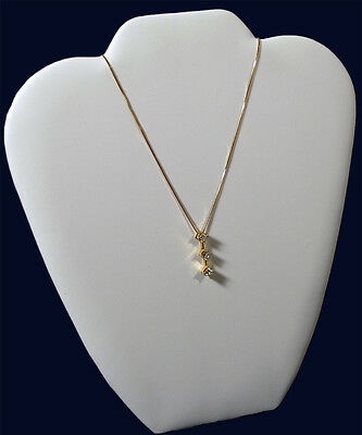1 White Leather 9 Necklace Pendant Chain Counter-top Easel Back Jewelry Display