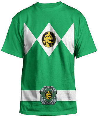 Power Rangers Mighty Fine Ranger Costume Adult Green T-Shirt - Halloween Party T