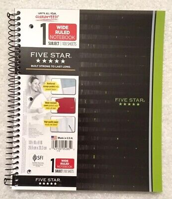 Mead Five Star Notebooks - Mead Five Star 1 subject notebook wide ruled 100 sheets 2 pockets Green/Black