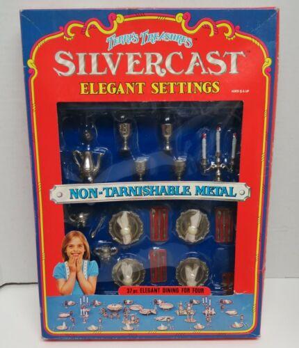Terri's Treasures Silvercast- Elegant Dining for Four 37 pieces Barbie size