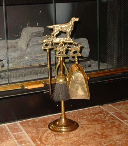Antique Original European Complete Fireplace Brass Tools English Setter Motif