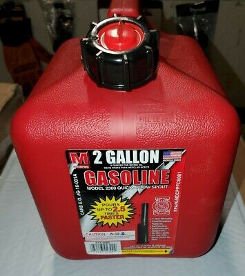 FAST FLOW 2 Gallon Gas Can CARB Auto Shut Off Gasoline MIX w/Spout SHIPS FREE