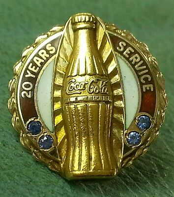 VINTAGE 10K Classic Coca-Cola Pin SOLID YELLOW GOLD W/ Sapphire
