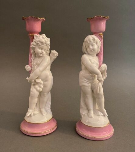 Pair of Antique French Old Paris Porcelain Cherub Putti Figural Candle Holders
