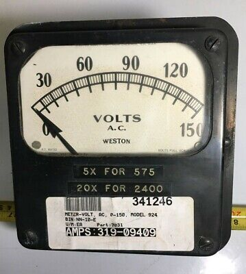 Vintage Weston Ac Volt Meter -model 924 Panel Mount Gauge -- 0-150v - Metal Can