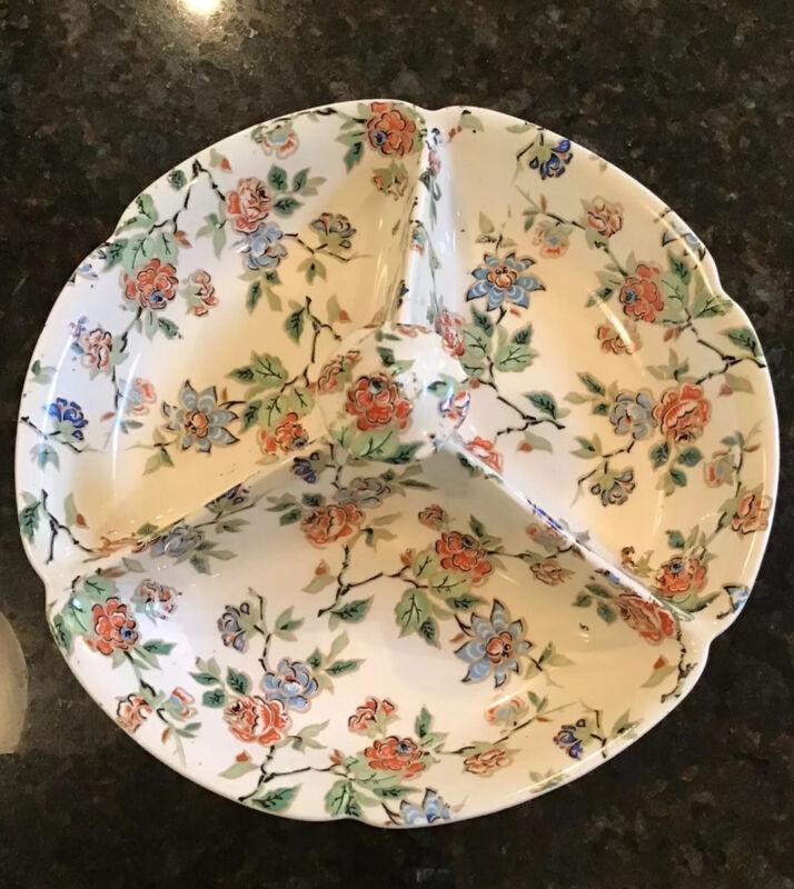 Rare Vintage ERPHILA Eton Cheery Chintz Porcelain Divided Tray Knob Top Germany