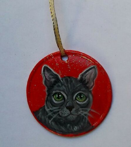 Russian Blue Cat Christmas Ornament Decoration Hand Painted Ceramic