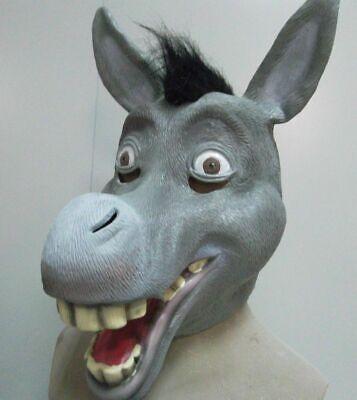 Donkey Mask Latex Fancy Dress Halloween Costume Full Head Animal Comical Shrek (Halloween Costumes Shrek)