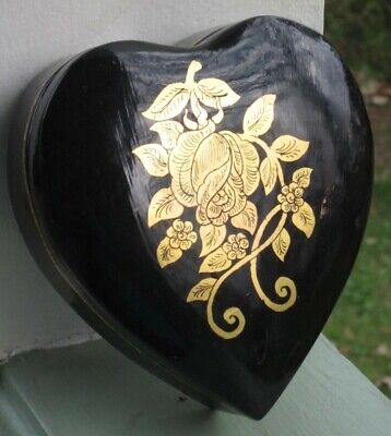 Heart Shaped Black Lacquer Lidded Box Hand Painted Gold Rose Vintage 5 x 4.5 Hand Painted Heart Shaped Box