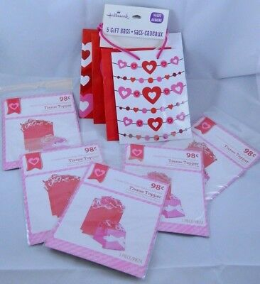 Lot of 5 Hallmark Valentines Day Gift Bags Includes 5 Tissue Toppers Variety ](Valentines Day Gift Bags)