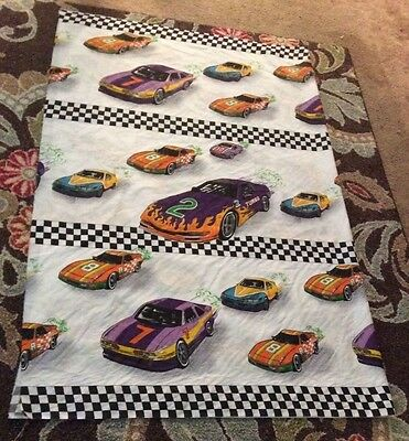 Rare turbo race sports car checkered flag check cotton fabric, 57