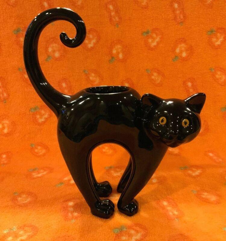 Yankee Candle Arched Back Black Cat Ceramic Halloween Tea Light Holder
