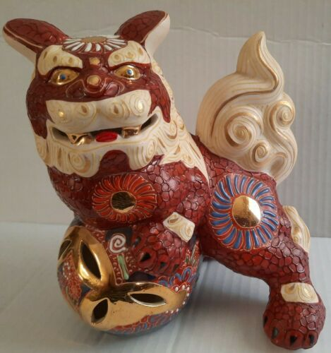 Vintage Ornate Kutani Shisa Foo Dog Temple Guardian Andrea By Sadak Super Cool  - $25.99