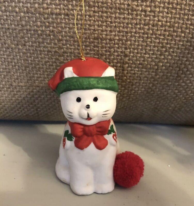 Cat Kitten Christmas Ornament Bell Ceramic Vintage