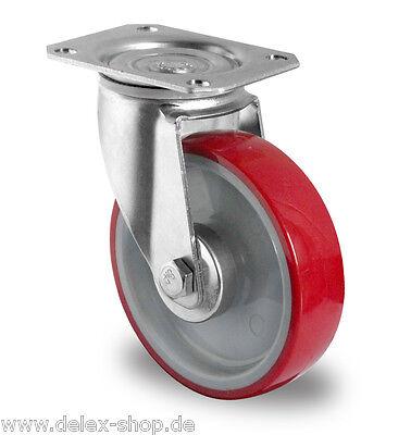 Transportrolle Lenkrolle 125 mm 200 kg Polyurethanbereifung Platte Rolle