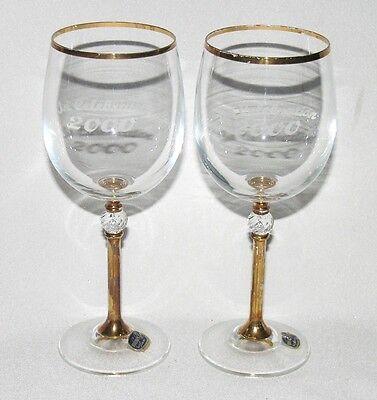 """2 Bohemia Czech Millennium 2000 crystal & gilt large 7½"""" wine glasses, labels"""