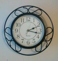 Vintage WESTCLOX Wall Clock Black Mid Century Modern S Scroll Metal Tested MCM