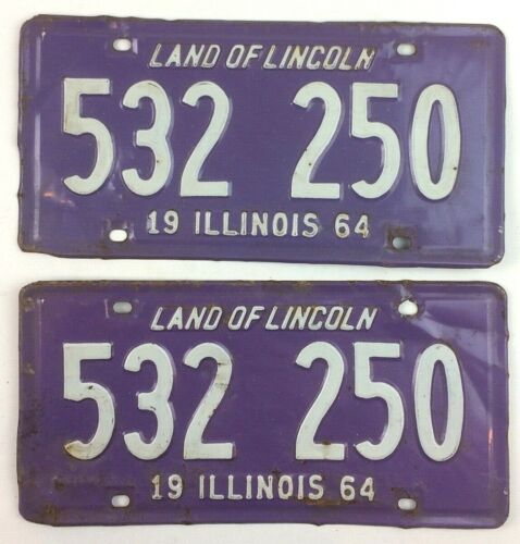 Illinois 1964 Vintage License Plate Pair Classic Car Set Man Cave Gift Mustang