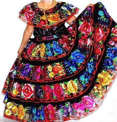 5 de Mayo Mexico Dance Dress Chiapas Folklorico Wedding Quinceanera Mexico Flora
