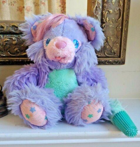 VTG Amtoy Brush A Loves Plush Bear 1987 Purple Aqua Green 80s Brush Toy Mirror