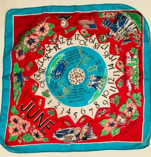 Vintage 1950s silk scarf, Zodiac, June theme