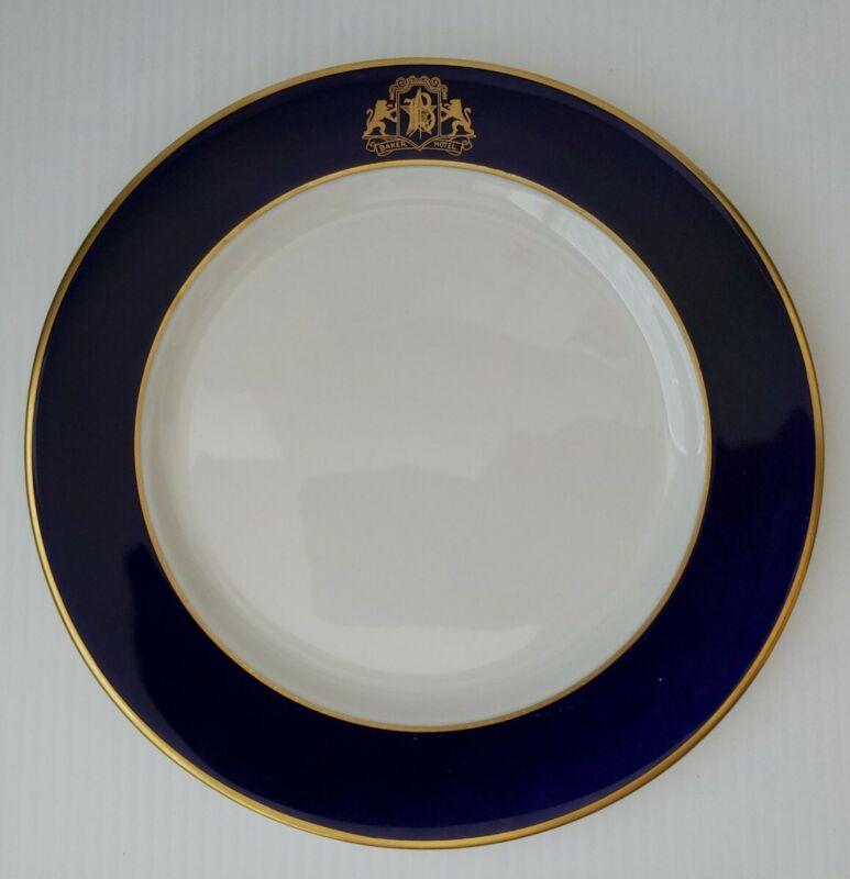 "Baker Hotel 8 3/4"" Breakfast Plate Syracuse China Vintage Gold & Navy Blue"