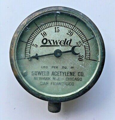 Vintage Oxweld Acetylene Co Gauge 0-30 Psi Made In Usa Steampunk Restoration Art