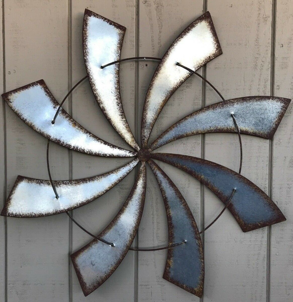 Details About 37 Metal Wall Art Spiral Windmill Rustic Farm House Wall Art Country Home Decor