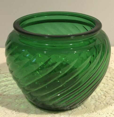 Vintage Green Glass Vase/Bowl Ribbed Striped Swirl by EO Brody Co.Cleveland Ohio