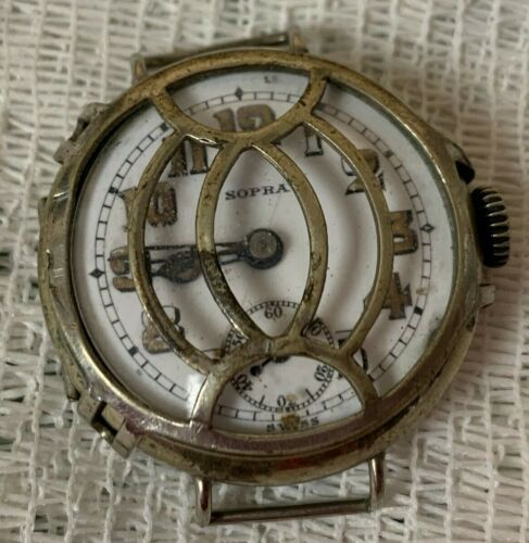 WWI Sopra Military Trench Watch & Protective Shrapnel Guard Cover
