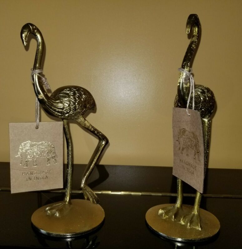 Set Of Golden Flamingo Sculptures