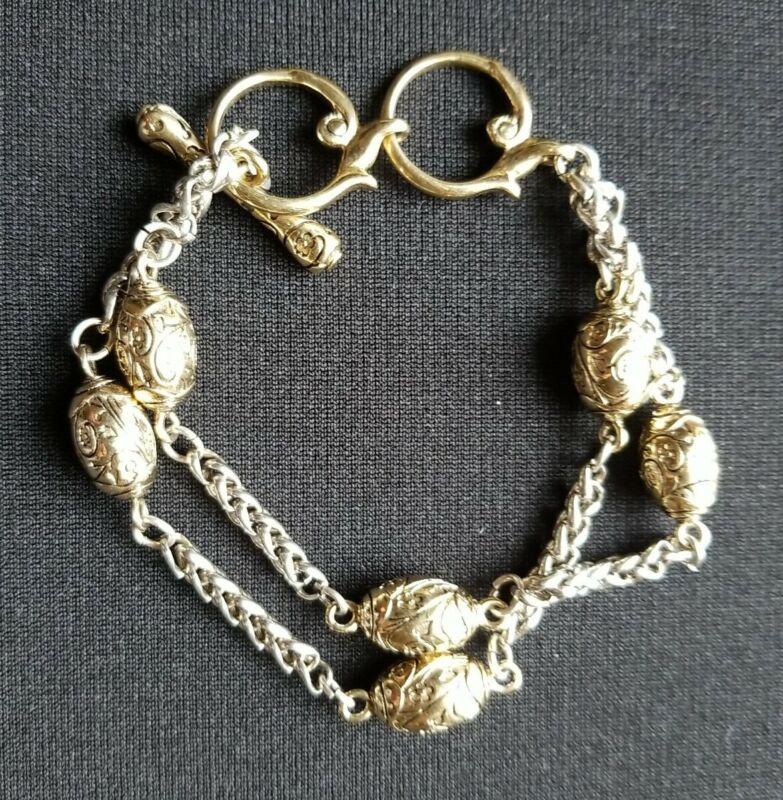 Premier Designs Two Tone Gold Silver Double Chain Bracelet