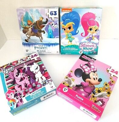 DISNEY FROZEN MINNIE MOUSE MY LITTLE PONY SHIMMER & SHINE PUZZLES SET OF 4 NEW