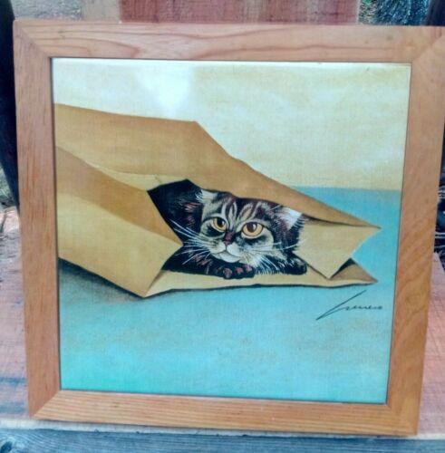 Cat in Paper Bag Lowell Herrero Vandor ceramic framed tile wall plaque vintage