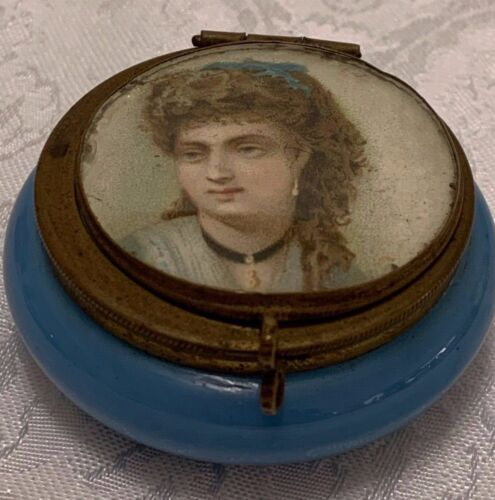 "Antique Blue Opaline PILL BOX Victorian Lady Portrait Lid 2"" Patch Jar Brass"