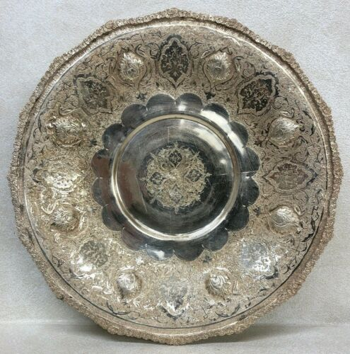 ANTIQUE MAGNIFICENT QUALITY SOLID SILVER 84 ISLAMIC HANDMADE FITTED ROUND DISH