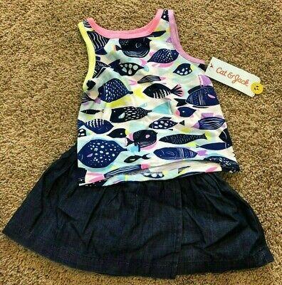- NWT Girls Blue Fish Sleeveless 2 Piece Cat & Jack Skirt Set 12 Months