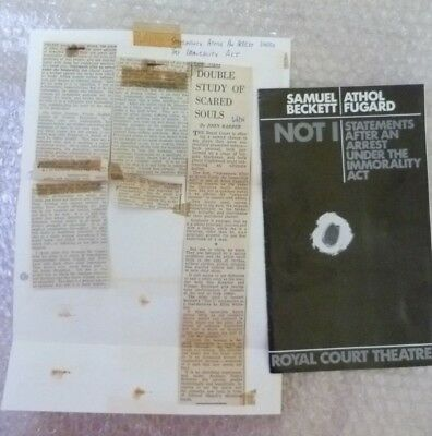 Royal Court Theatre Programme + Press Cutting NOT I / Statements after an Arrest