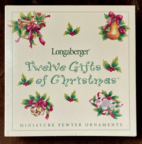 """Longaberger """"Twelve Days of Christmas"""" Minature Pewter Ornaments ~ New in Box"""