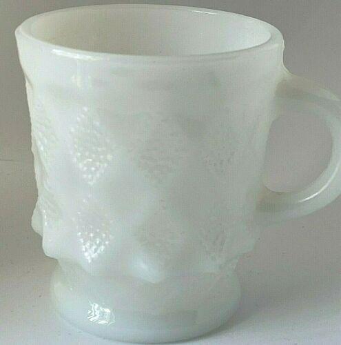 Vintage Fire King Kimberly White Milk Glass Diamond Embossed Cup / Mug