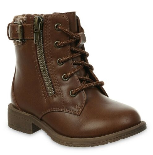 Wonder Nation Toddler Girls Brown Sweater Lined Moto Casual Boots Shoes: 7-11